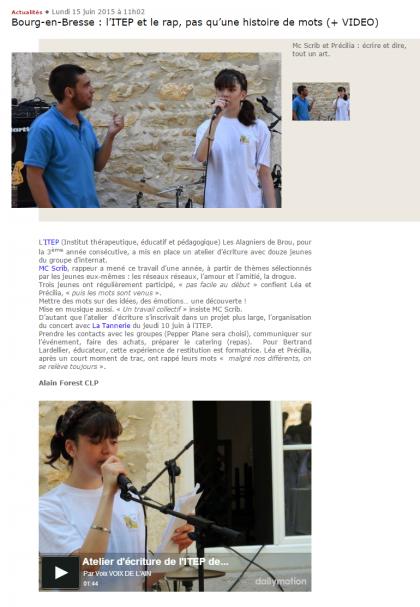 Bourg-en-Bresse _ l'ITEP et le rap