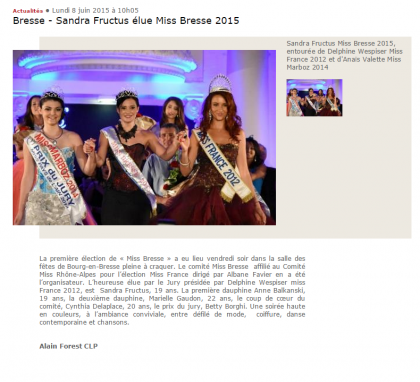 Bresse – Sandra Fructus élue Miss Bress