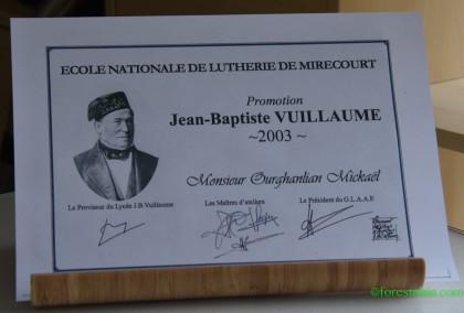 Le diplôme de luthier de Mickaël Ourghanlian